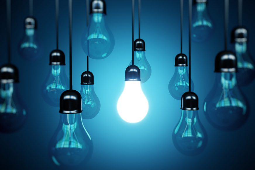 a light bulb on among other light bulbs off