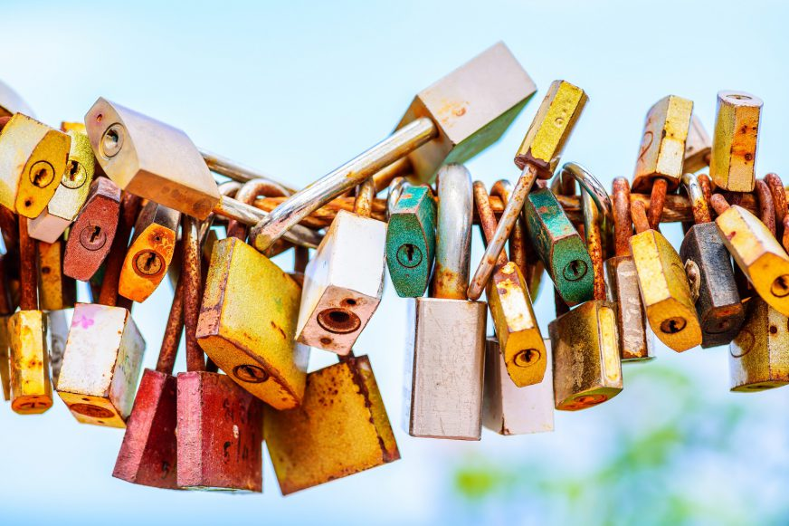 A string of padlocks