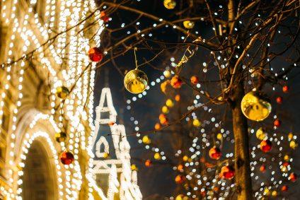 A Christmas market in a European city