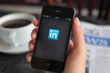 LinkedIn logo on phone