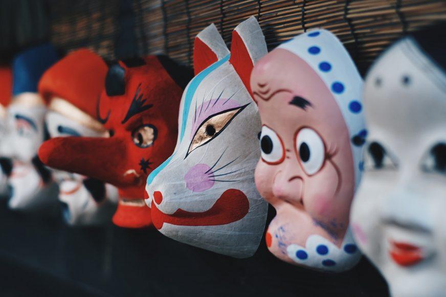 row of masks