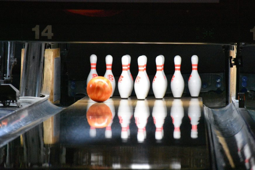 bowling alley and pins