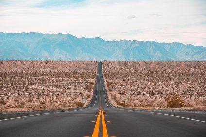 road towards mountain background
