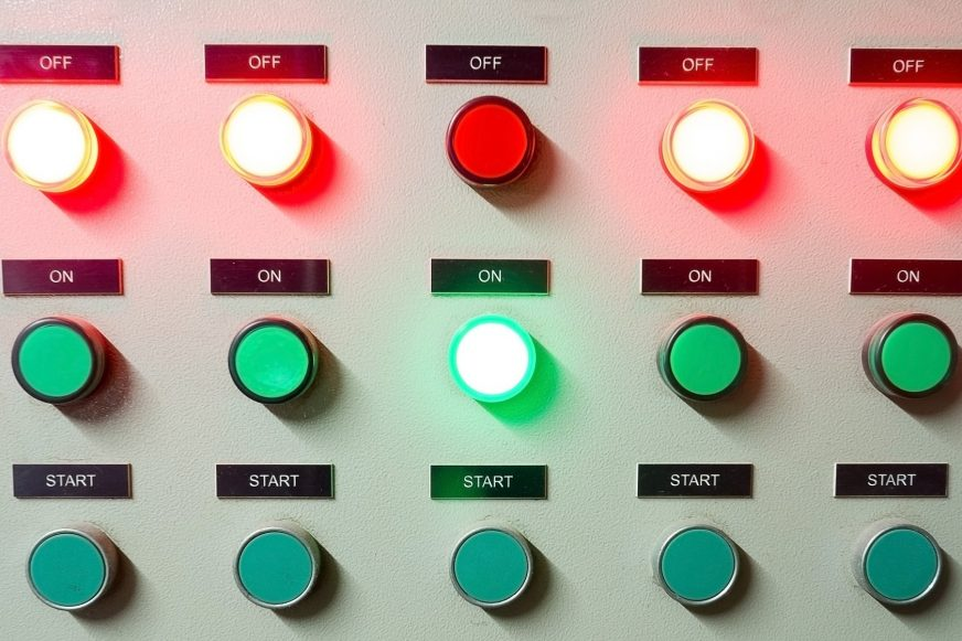 several on/ off buttons illuminated