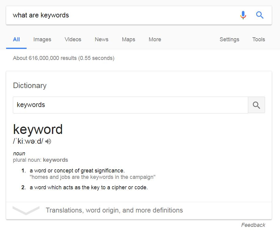 Google search for keywords