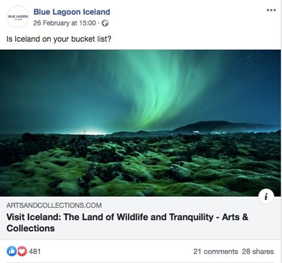 Blue Lagoon Iceland Facebook Post