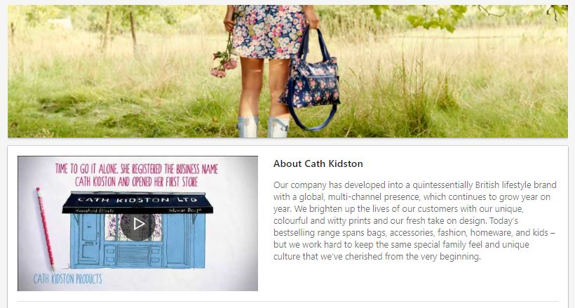 Cath Kidston LinkedIn page