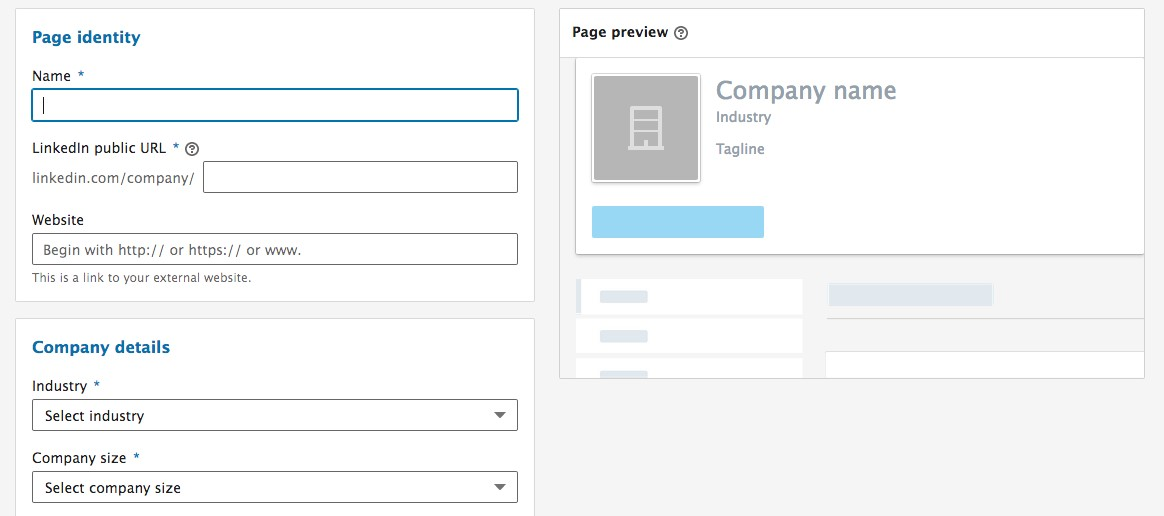 Creating LinkedIn page