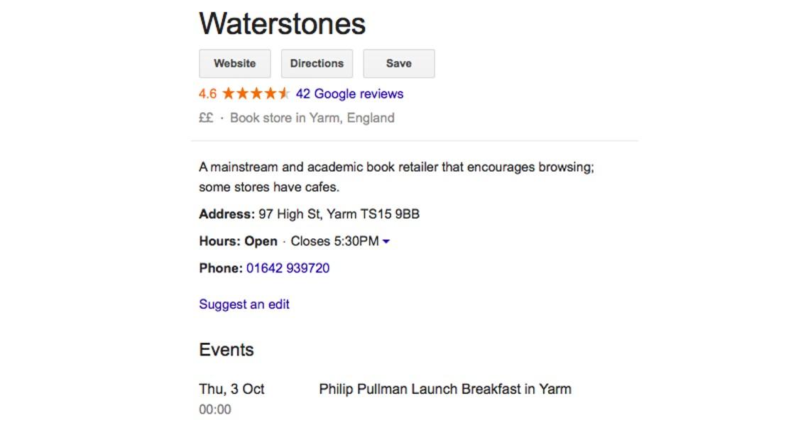 Waterstones Google My Business posts
