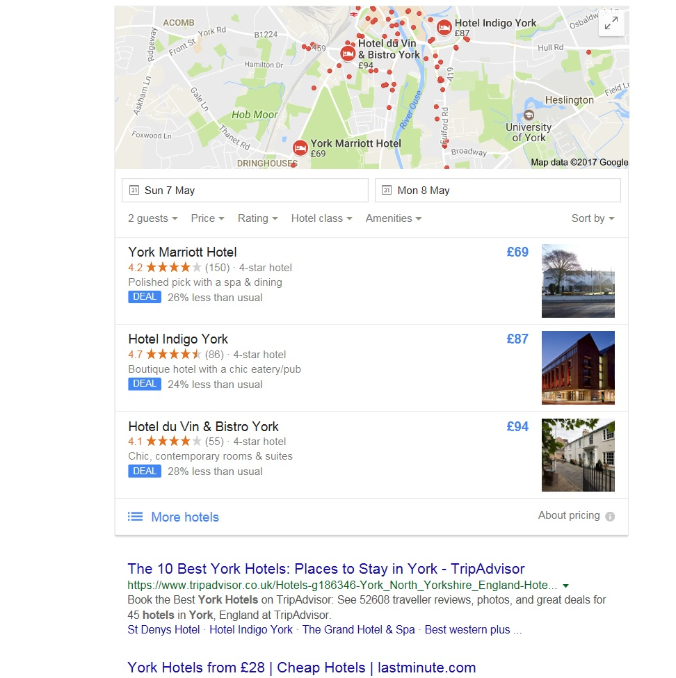 York Hotels local SEO listings