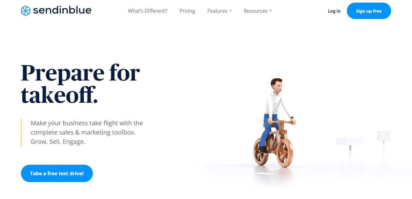 Send in Blue homepage