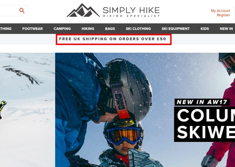 Simply Hike free shipping message