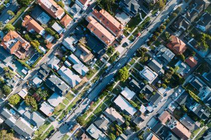 birds eye view of house