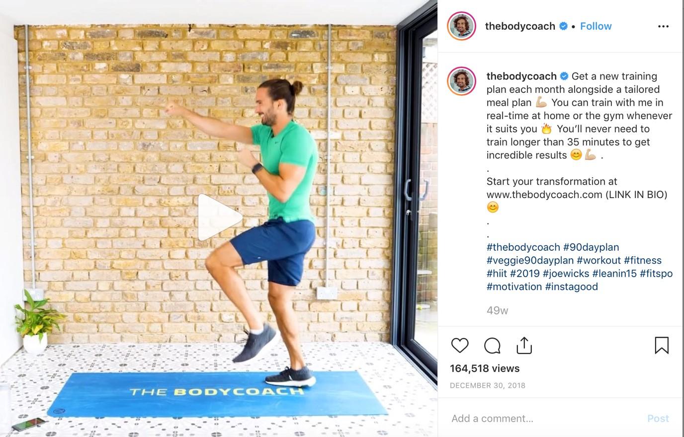 Joe Wicks Instagram post