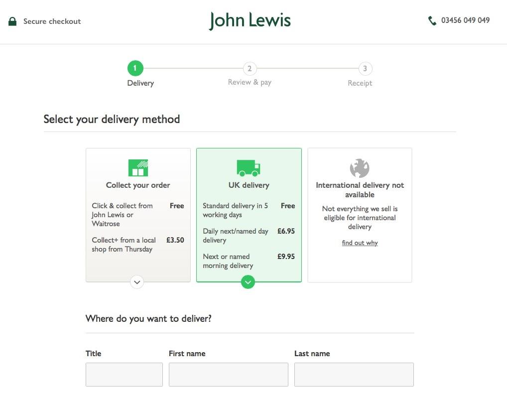 John Lewis checkout page