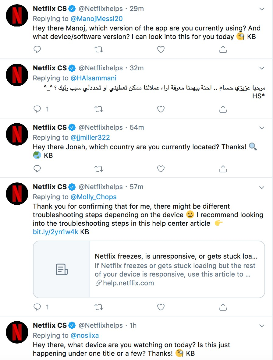 Netflix customer service Twitter channel