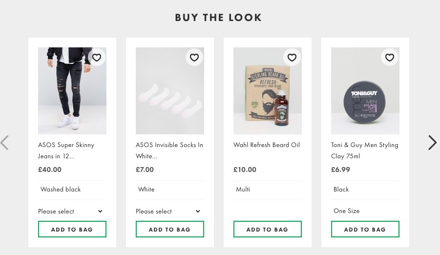 Buy the look product recommendations