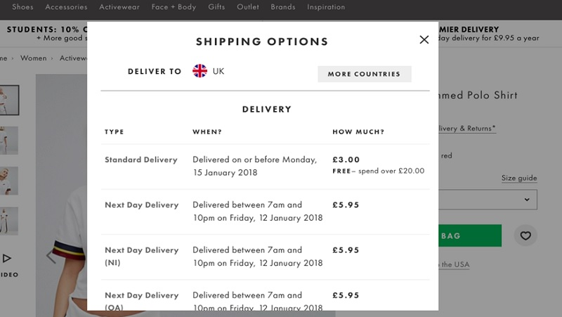 Delivery and returns information