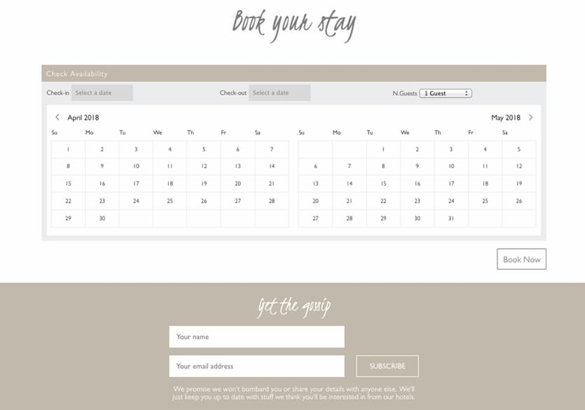 Dormy house booking website screenshot