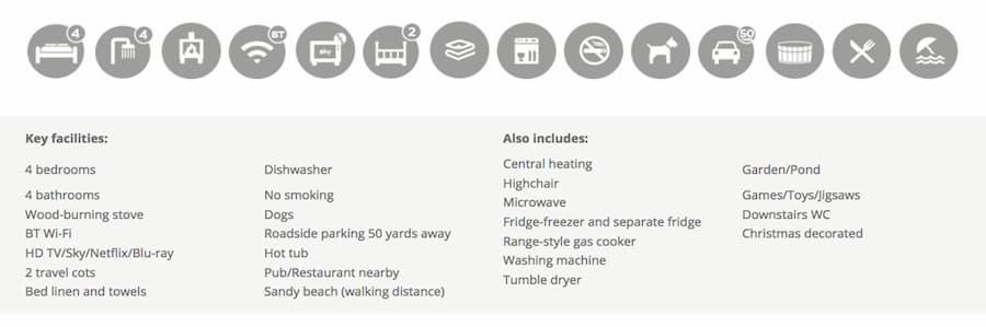 Exmoor character cottages facilities website screenshot