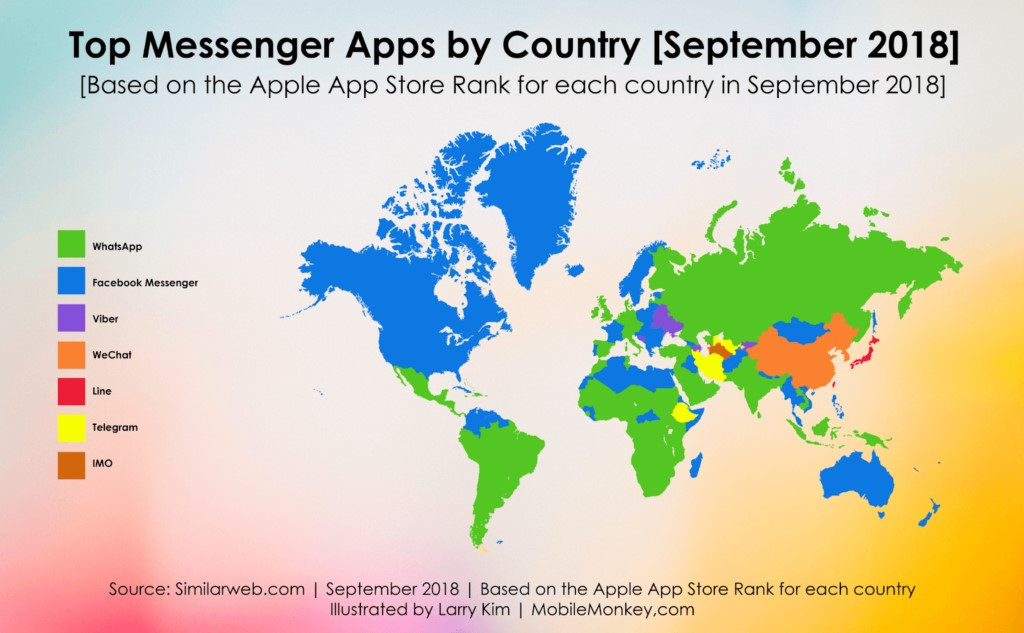 Map showing top messenger apps by country