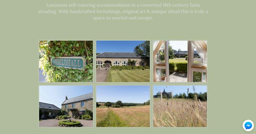 Shieldhall guest house website screenshot