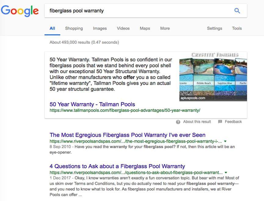 Fiberglass warranty Google search