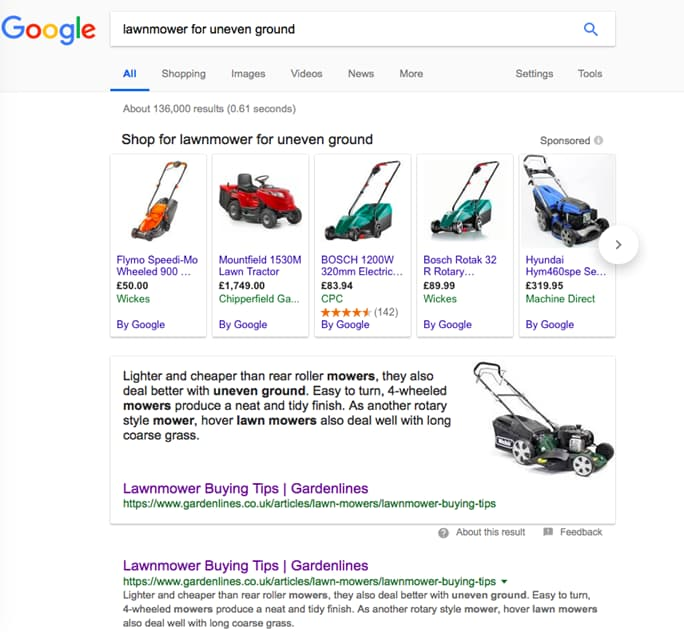 Google search for lawnmower for uneven ground