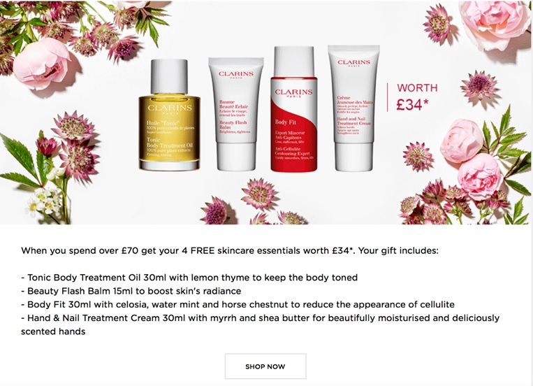 Clarins product offer