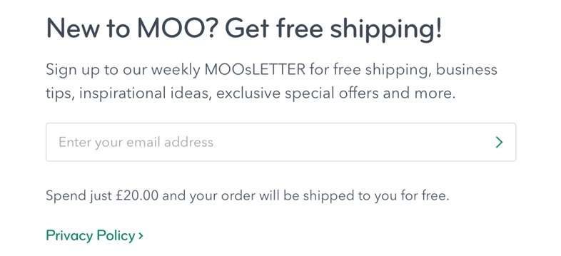Moo.com newsletter sign up popup box