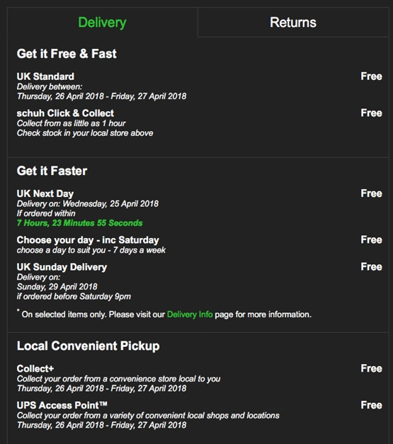 Schuh delivery options