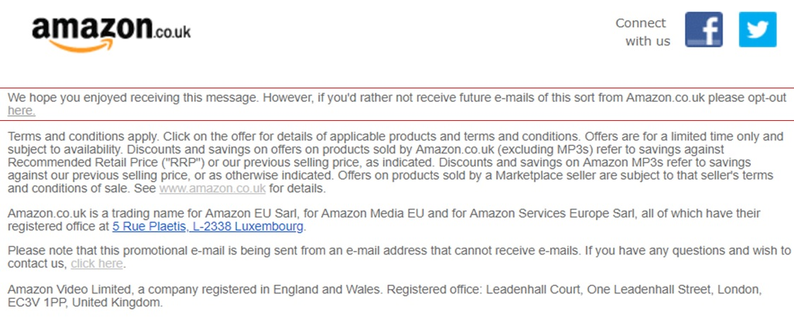 Amazon unsubscribe email link