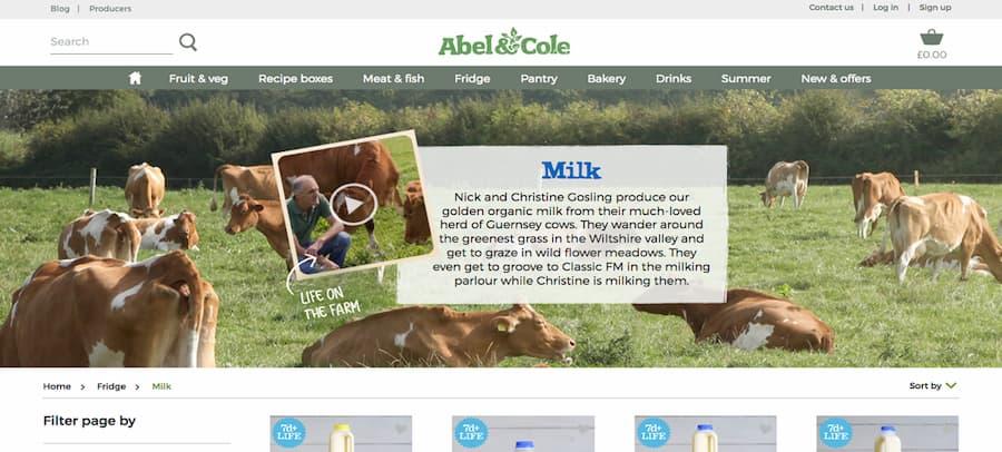 Abel and Cole milk website screenshot