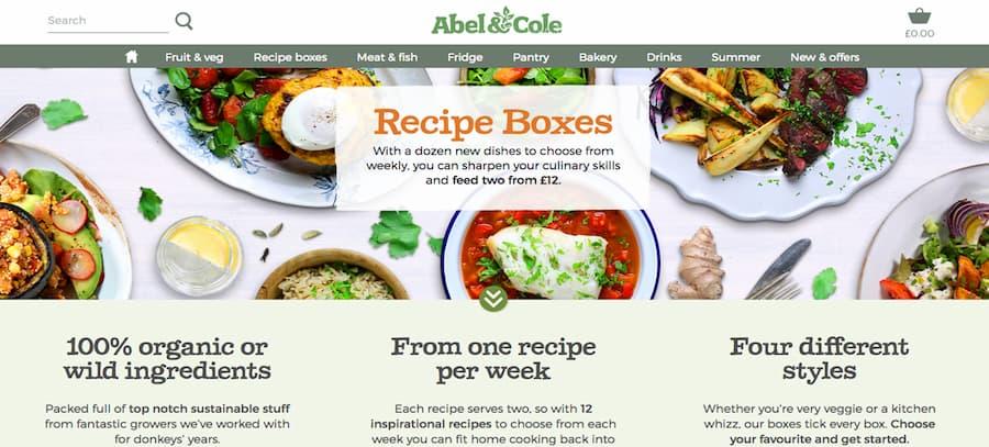 Abel and Cole website screenshot
