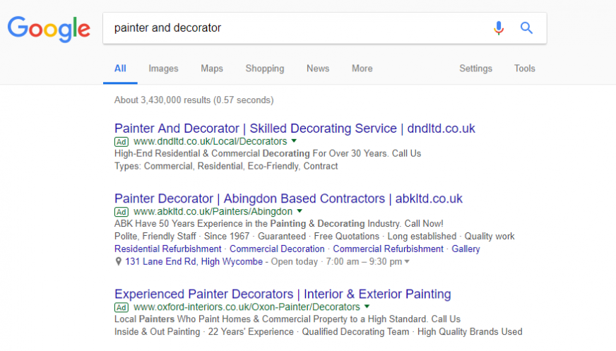 Example Google Ads Listing