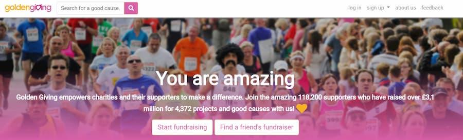 Golden Giving website screenshot