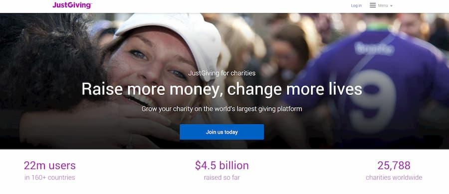 JustGiving website screenshot