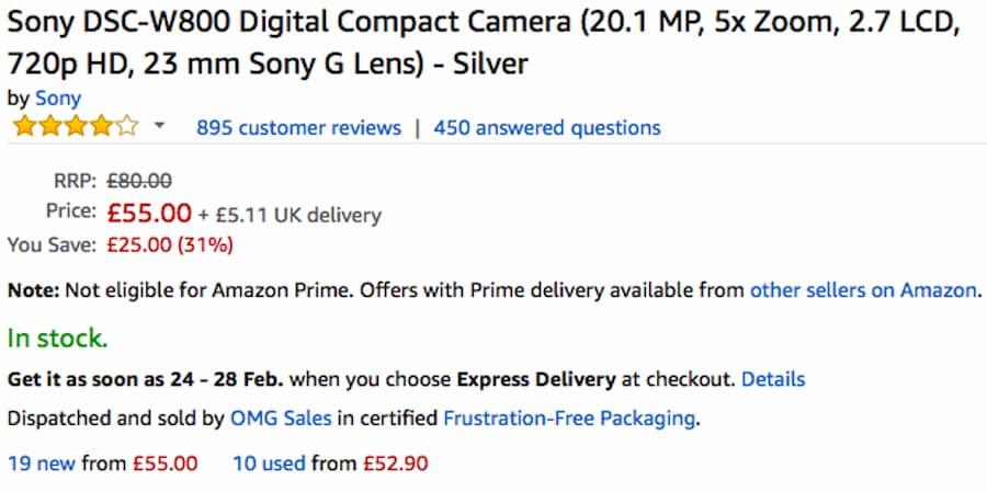 Sony DSC W800 Digital Compact Camera