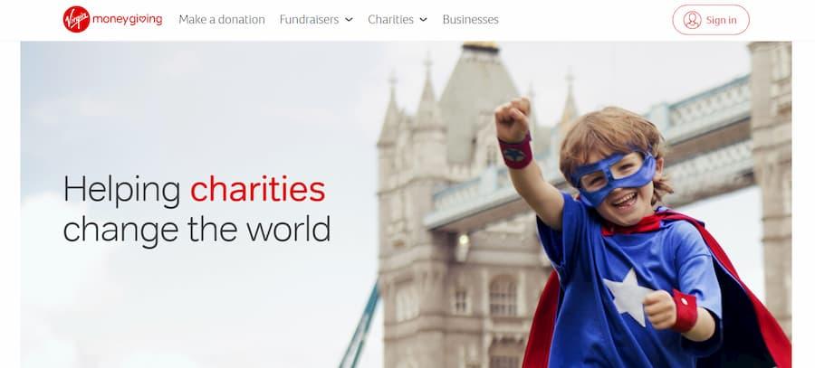 Virgin Money Giving website screenshot
