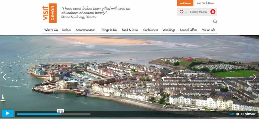 Screenshot from Visit Devon website