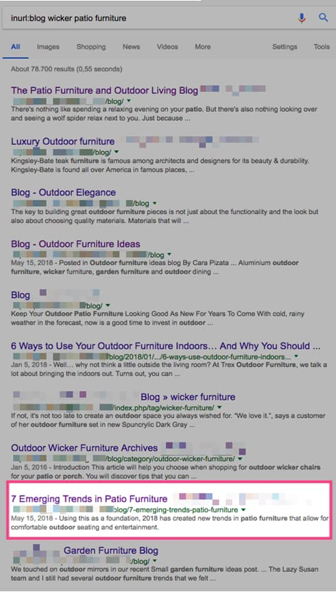 Google results showing impact of building links