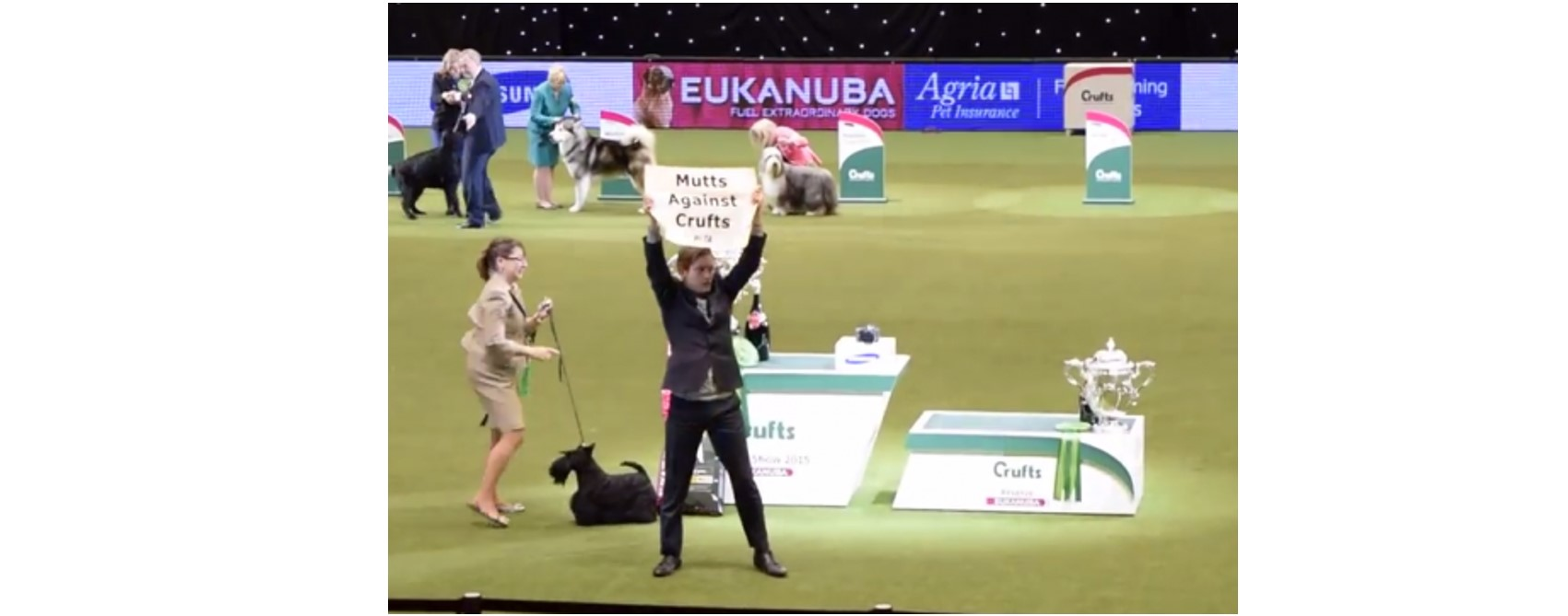 PETA protester holding sign at Crufts