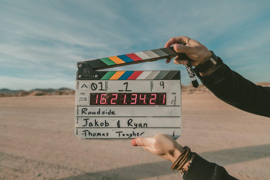 video clapper board against desert background