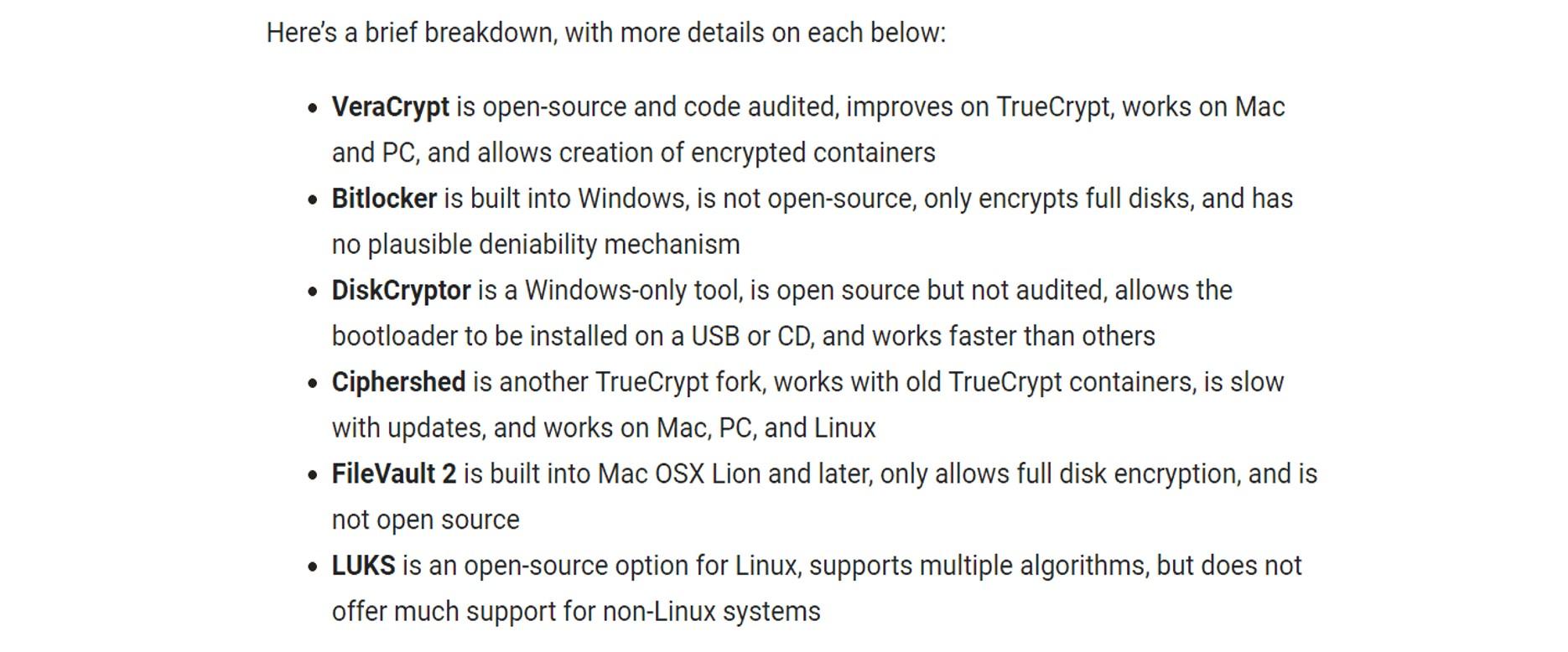 list of encryption programmes
