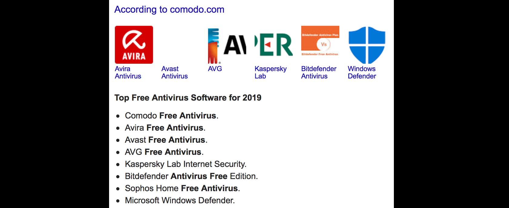list of top free antivirus software