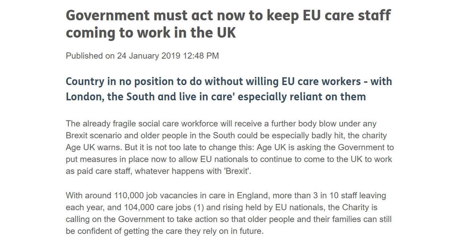 Screenshot of press release from Age UK