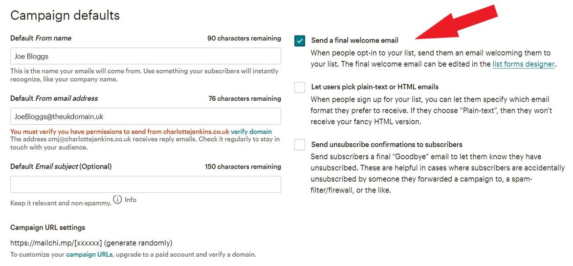 Mailchimp welcome email setup screenshot