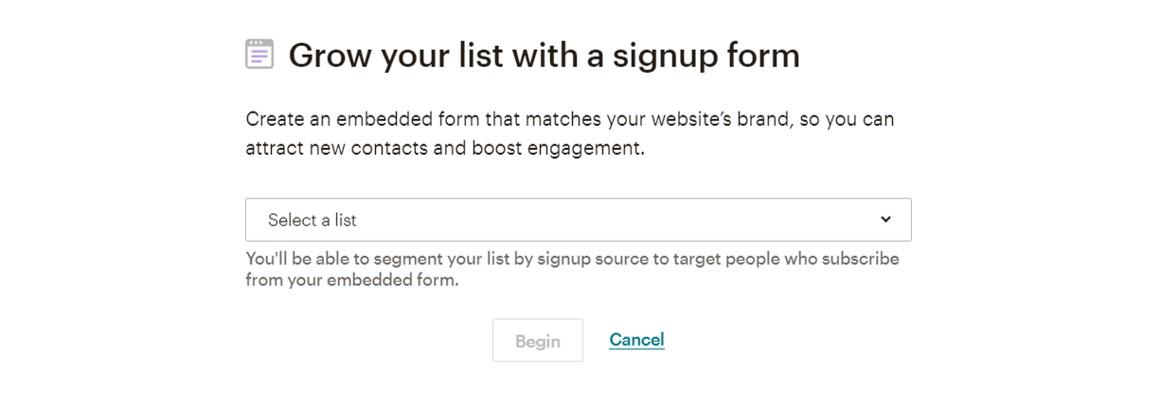 Mailchimp sign-up form screenshot