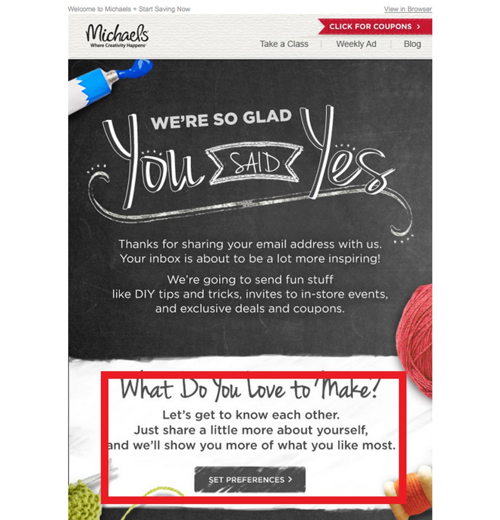 email from Michaels