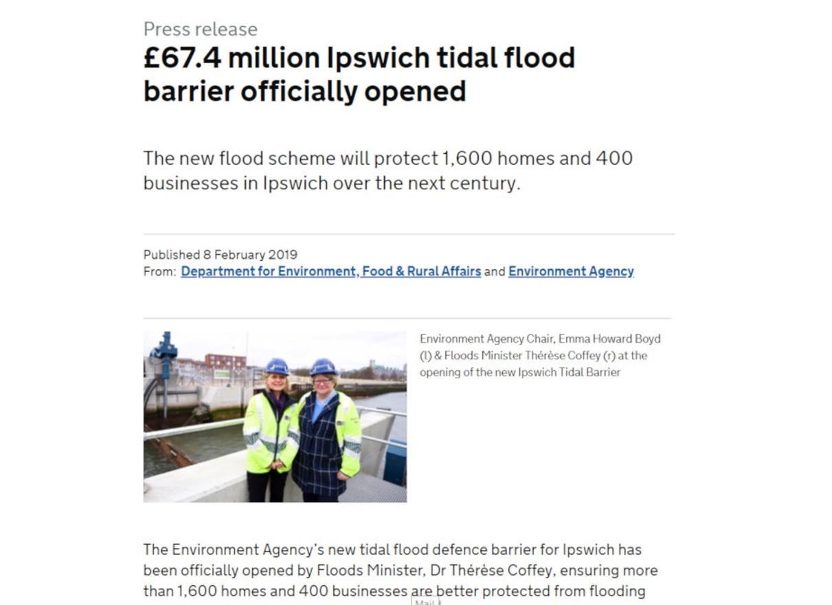 Screenshot of press release on Ipswich tidal flood barrier